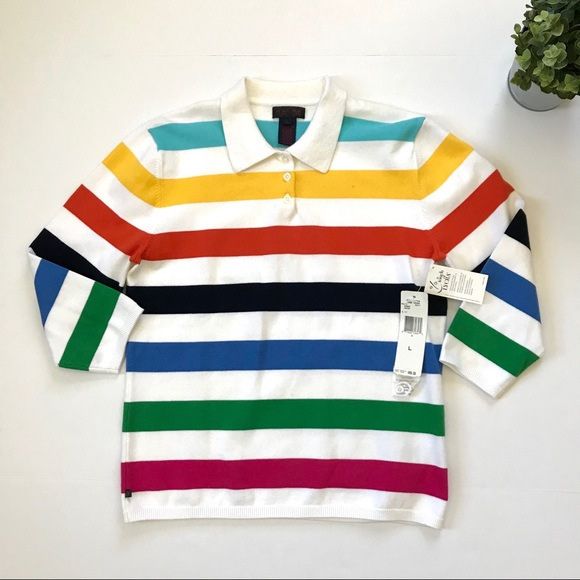 61c51870ee Ralph Lauren Multi Rainbow Stripe Polo Large A5 NWT